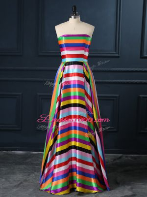 Fancy Strapless Sleeveless Teens Party Dress Floor Length Ruching Multi-color Printed