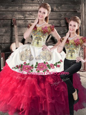 Fitting Off The Shoulder Sleeveless Quinceanera Dress Floor Length Embroidery Hot Pink Satin and Organza