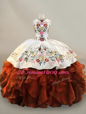 Latest Rust Red Ball Gowns Halter Top Sleeveless Organza Floor Length Lace Up Embroidery and Ruffles 15th Birthday Dress