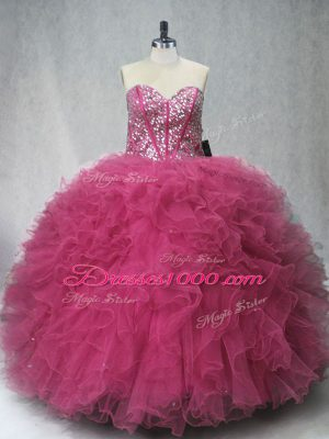 Stunning Floor Length Lace Up Ball Gown Prom Dress Coral Red for Sweet 16 and Quinceanera with Beading and Ruffles