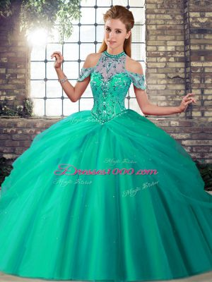Turquoise Quinceanera Dresses Military Ball and Sweet 16 and Quinceanera with Beading and Pick Ups Halter Top Sleeveless Brush Train Lace Up