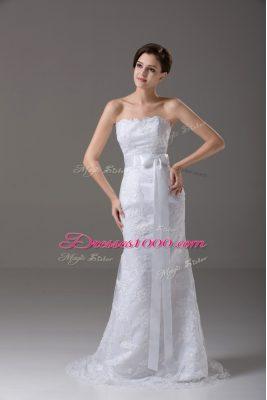 Mermaid Sleeveless White Wedding Dress Brush Train Zipper