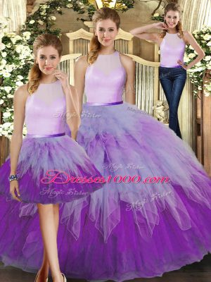 Captivating Multi-color Organza Backless High-neck Sleeveless Floor Length Sweet 16 Quinceanera Dress Ruffles