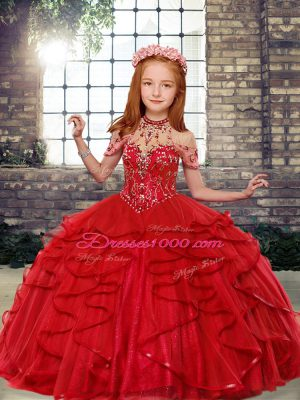 Red Lace Up Kids Formal Wear Beading Sleeveless Floor Length