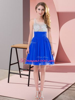 Extravagant Royal Blue Sleeveless Chiffon Side Zipper Quinceanera Court Dresses for Wedding Party