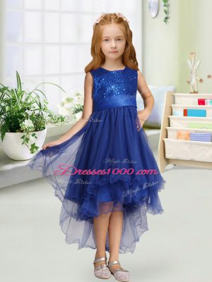 Cheap Sleeveless High Low Sequins and Bowknot Zipper Flower Girl Dresses with Royal Blue