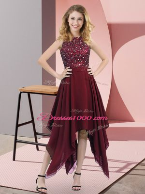 Fashion Burgundy Empire High-neck Sleeveless Chiffon Asymmetrical Zipper Beading and Sequins Prom Evening Gown