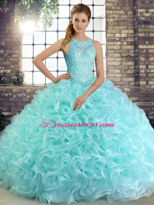 Colorful Floor Length Aqua Blue 15 Quinceanera Dress Scoop Sleeveless Lace Up