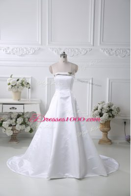 Cheap White Ball Gowns Pattern Wedding Dresses Lace Up Satin Sleeveless
