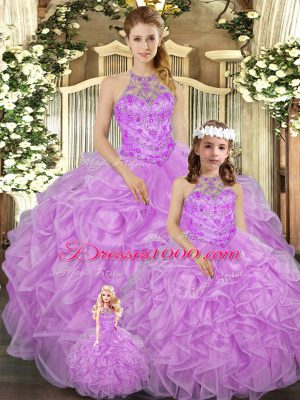 Extravagant Sleeveless Lace Up Floor Length Beading and Ruffles Quinceanera Dress
