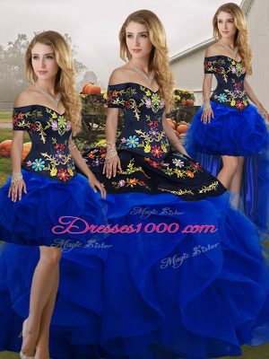 Floor Length Ball Gowns Sleeveless Blue And Black Sweet 16 Dresses Lace Up