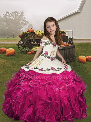 Fuchsia Organza Lace Up Straps Sleeveless Floor Length Little Girls Pageant Gowns Embroidery and Ruffles