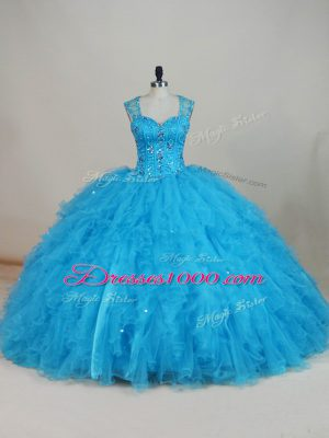 Wonderful Sleeveless Beading and Ruffles Zipper Quinceanera Gown