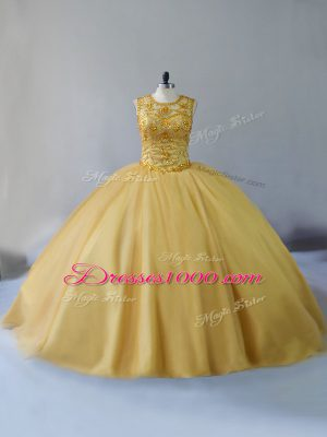 Captivating Lace Up Sweet 16 Dresses Gold for Sweet 16 and Quinceanera with Beading Brush Train