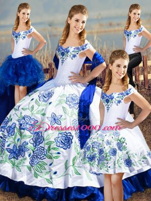 Exceptional Blue And White Lace Up Quinceanera Gowns Embroidery and Ruffles Sleeveless Floor Length