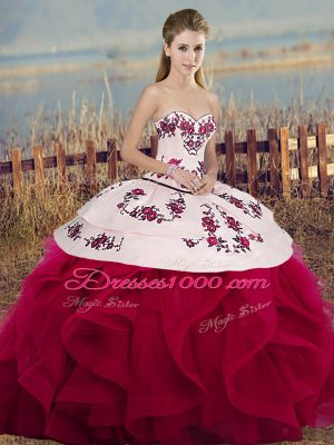 Fashionable White And Red Ball Gowns Tulle Sweetheart Sleeveless Embroidery and Ruffles and Bowknot Floor Length Lace Up Vestidos de Quinceanera
