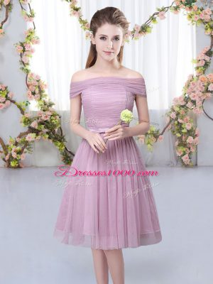 Noble Short Sleeves Belt Lace Up Dama Dress for Quinceanera