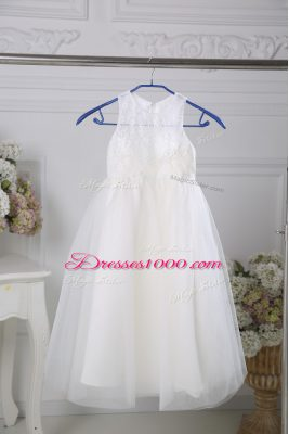 Enchanting Floor Length Zipper Toddler Flower Girl Dress White for Wedding Party with Lace