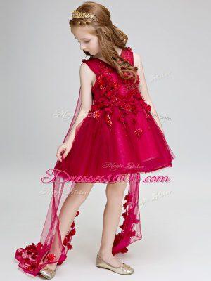 Wine Red Sleeveless Watteau Train Hand Made Flower Flower Girl Dresses for Less