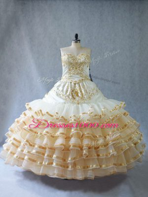 Floor Length Lace Up Sweet 16 Quinceanera Dress Champagne for Sweet 16 and Quinceanera with Embroidery and Ruffled Layers