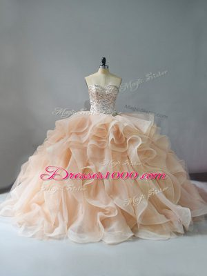 Lace Up 15th Birthday Dress Champagne and Pink And White for Sweet 16 and Quinceanera with Beading and Ruffles Brush Train