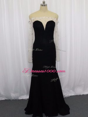 New Arrival Black Chiffon Zipper Off The Shoulder Long Sleeves Floor Length Prom Evening Gown Beading