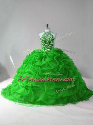 Top Selling Green 15th Birthday Dress Organza Court Train Sleeveless Beading and Pick Ups