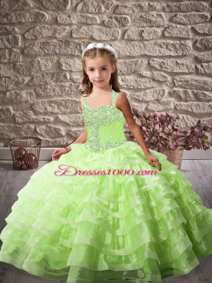 Great Straps Neckline Beading and Ruffled Layers Little Girls Pageant Gowns Sleeveless Lace Up