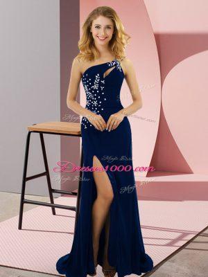 Royal Blue One Shoulder Neckline Beading Homecoming Dress Sleeveless Lace Up