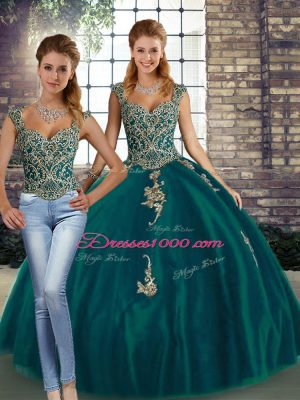 Trendy Peacock Green Two Pieces Straps Sleeveless Tulle Floor Length Lace Up Beading and Appliques Quince Ball Gowns