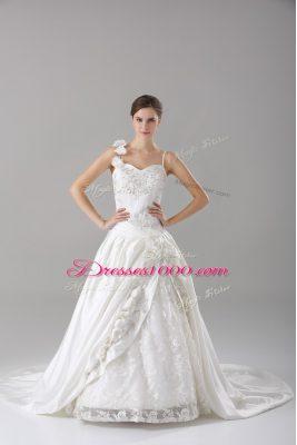 Flirting White Lace Up Spaghetti Straps Lace and Embroidery and Hand Made Flower Wedding Dress Taffeta Sleeveless Brush Train