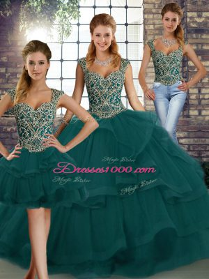 Floor Length Peacock Green 15 Quinceanera Dress Straps Sleeveless Lace Up