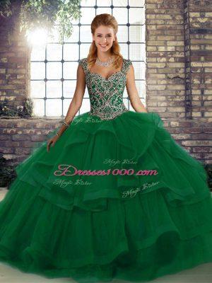 Noble Beading and Ruffles Sweet 16 Dress Green Lace Up Sleeveless Floor Length