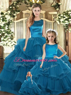 Customized Ruffles Quinceanera Dress Teal Lace Up Sleeveless Floor Length