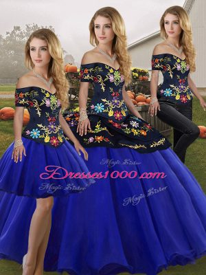 Sumptuous Floor Length Three Pieces Sleeveless Royal Blue Ball Gown Prom Dress Lace Up