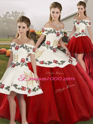 White And Red Off The Shoulder Lace Up Embroidery Quinceanera Dresses Sleeveless