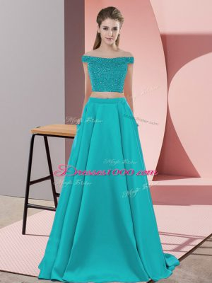 Teal Backless Off The Shoulder Beading Juniors Evening Dress Elastic Woven Satin Sleeveless Sweep Train