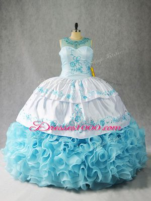 Sexy Baby Blue Fabric With Rolling Flowers Lace Up Scoop Sleeveless Floor Length Vestidos de Quinceanera Beading and Embroidery and Ruffles