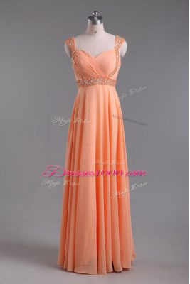 Elegant Orange Backless Prom Party Dress Beading Sleeveless Floor Length