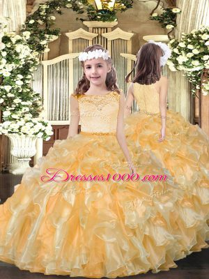 Beauteous Gold Organza Zipper Scoop Sleeveless Floor Length Party Dress for Toddlers Beading and Ruffles