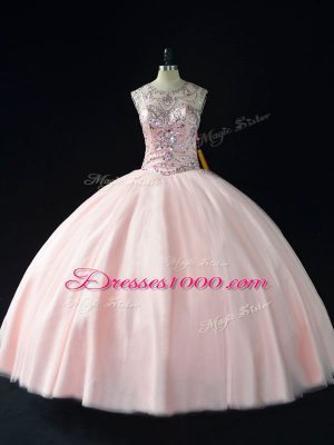 Pink Lace Up Sweet 16 Dresses Beading Sleeveless Floor Length