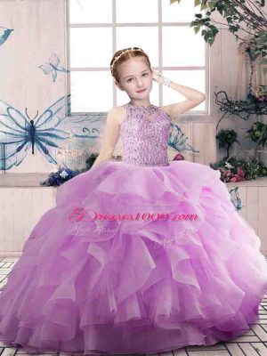 Charming Floor Length Zipper Little Girls Pageant Dress Wholesale Lilac for Party and Sweet 16 and Wedding Party with Beading and Ruffles
