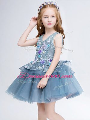 Flare Grey Ball Gowns V-neck Sleeveless Tulle Mini Length Lace Up Lace and Appliques Flower Girl Dress