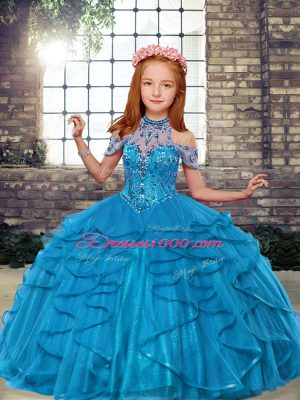 Sleeveless Floor Length Beading and Ruffles Lace Up Glitz Pageant Dress with Teal