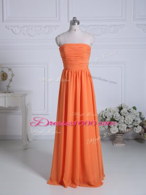 High End Orange Empire Chiffon Strapless Sleeveless Ruching Floor Length Zipper Damas Dress