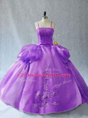 Ball Gowns Quince Ball Gowns Lavender Spaghetti Straps Organza Sleeveless Floor Length Lace Up