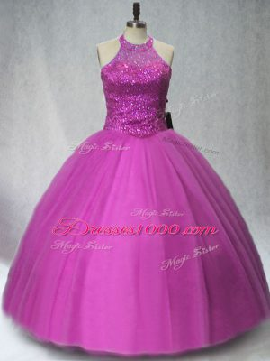 Smart Sleeveless Tulle Floor Length Lace Up Quinceanera Gowns in Purple with Beading