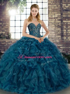 Chic Teal Sweetheart Lace Up Beading and Ruffles Sweet 16 Quinceanera Dress Sleeveless