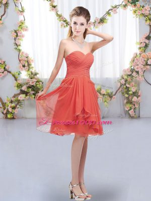Trendy Sweetheart Sleeveless Chiffon Vestidos de Damas Ruffles and Ruching Lace Up