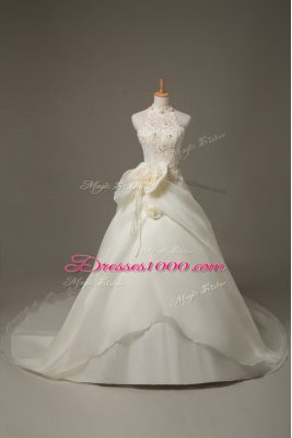 Amazing White Organza Zipper Wedding Dress Sleeveless Court Train Beading and Lace and Hand Made Flower